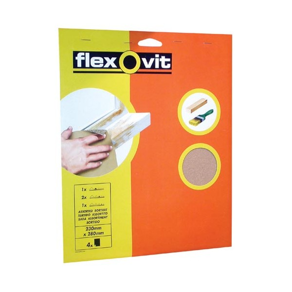 Papier verre - grain gros - lot de 4  - 63642526292 - FLEXOVIT