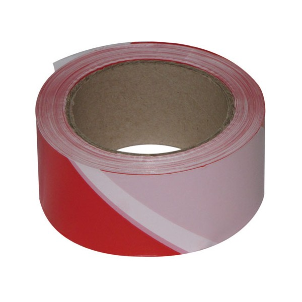Ruban de chantier - rouge et blanc - 100 m x 50 mm  - 3055016 - NOVAP
