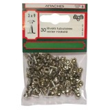 Rivet tubulaire - acier nickelé - 3x9 mm - lot de 30