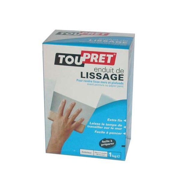 Enduit de lissage cachet bleu 1 kg cb01 toupret for Video enduit de lissage