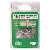 Rivet aluminium - D: 4.8mm - 17.5 mm - lot de 12