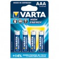 Lot de 4 piles alcalines High Energy LR03 - AAA - 4903414 - Varta