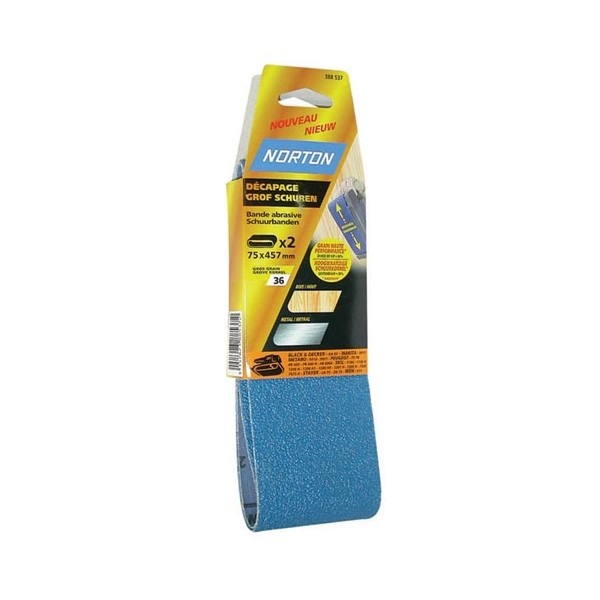 Bande abrasive - blue tech - lot de 2 - grain 50 - 75x457 mm - 63642570452 - NORTON