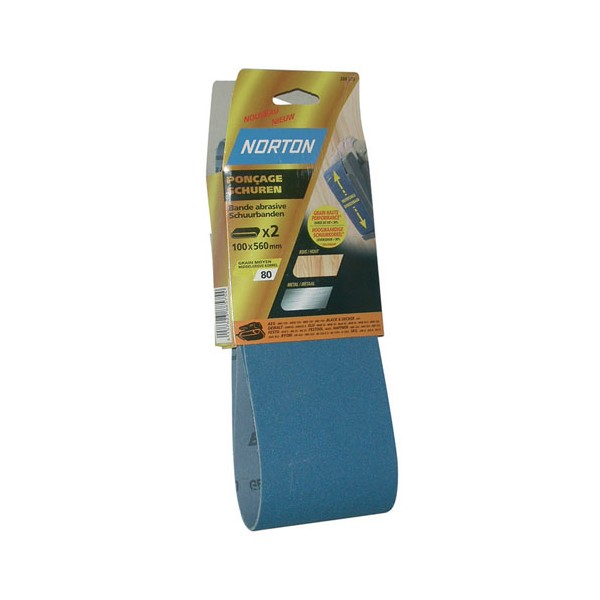 Bande abrasive - blue tech - lot de 2 - grain 80 - 100x610 mm - 63642570466 - NORTON