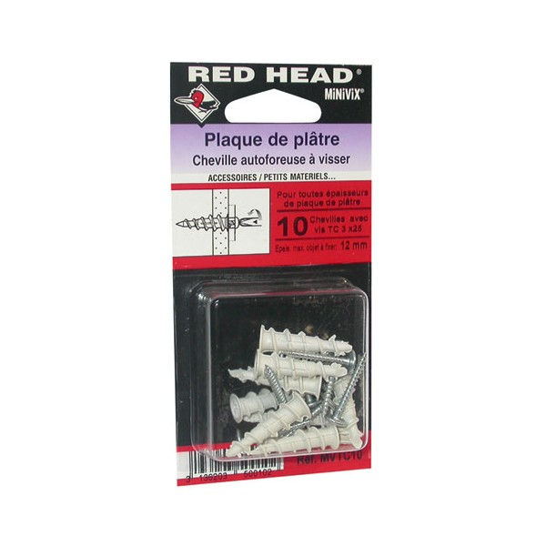 Cheville autoforeuse - lot de 10 - mini VIX + 10 vis - MVTC10 - RED HEAD