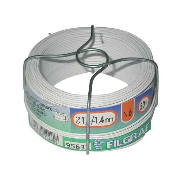 Fil attache - plastifié blanc - 6 mm - bobine 50 m - GRAFBIA06 - FILGRAF