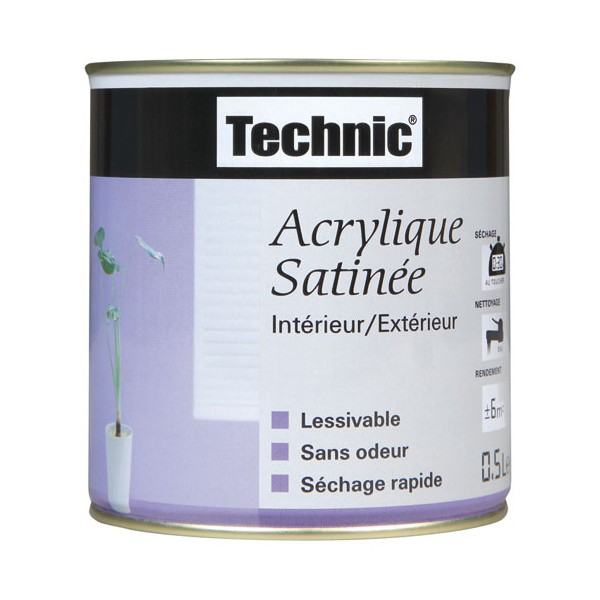 Peinture acrylique satin e 0 5 l taupe 312560 technic home boulevard for Peinture marron taupe