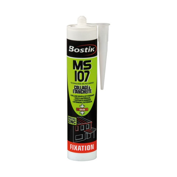 Mastic fixation MS 107 - brun - 290 mL - 30130015 - BOSTIK PRO