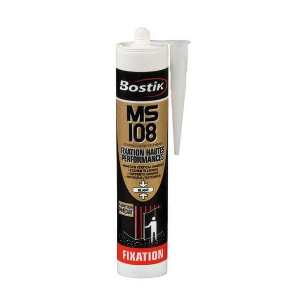 Mastic fixation MS 108 - blanc - 290 mL - 30133127 - BOSTIK PRO