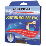Joint mousse PVC - marron - 9 mm x 6 m