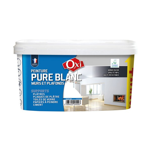 peinture monocouche mat 2 5 l blanc acrylmat3 oxi home boulevard. Black Bedroom Furniture Sets. Home Design Ideas