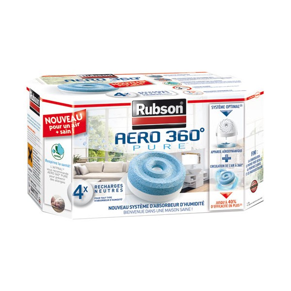Recharge absorbeur Aéro 360° pure - lot de 4 - 1619483 - RUBSON