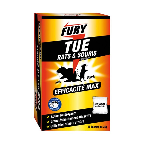Sachet raticide et souricide - 400g - FURY