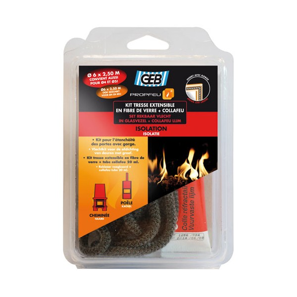 Kit tresse en fibre verre extensible 6 mm + collafeu - 821591 - GEB