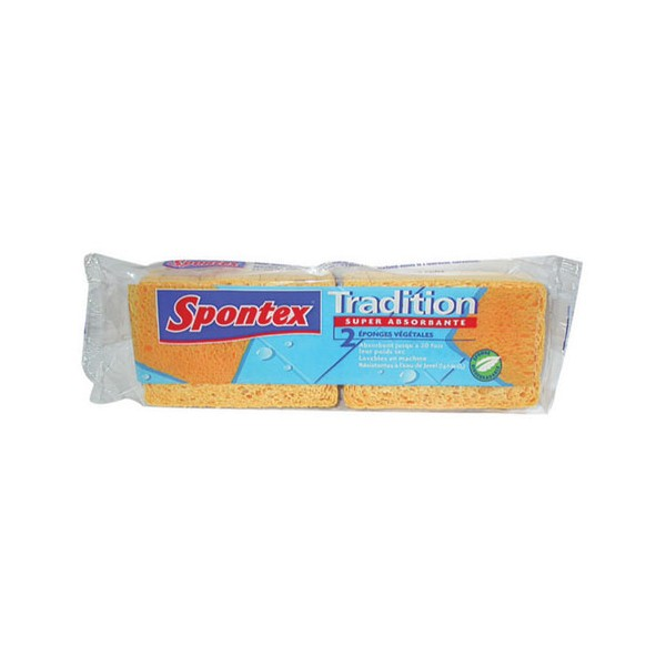 Lot de 2 éponges Tradition n°4 - super absorbante - SPONTEX