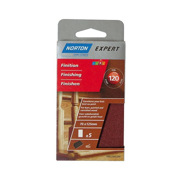 Patin pour cale 70 x 125 mm autogrip grain 120 lot de 5 - 66623307200 - NORTON