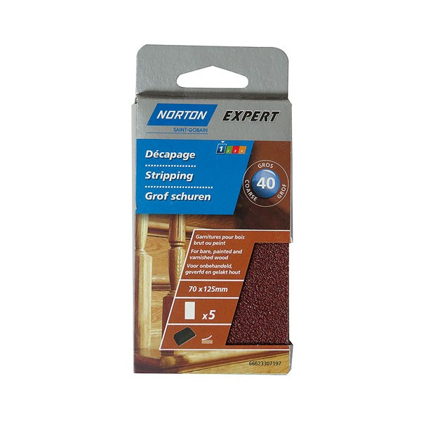 Patin pour cale 70 x 125 mm grain 40 autogrip lot de 5 - 66623307197 - NORTON