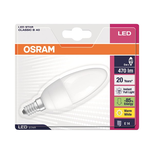 Led star flamme 6W E14 dépolie blanc chaud - 4052899911987 - OSRAM