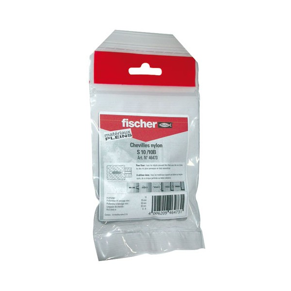 Cheville nylon - lot de 10 - S10/10B - 46473 - FISCHER