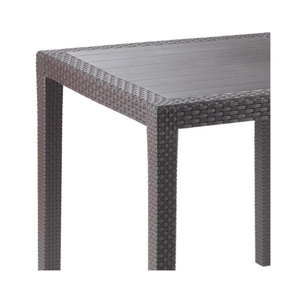 Table en r sine tress e moka 14718 progarden home boulevard - Table de jardin resine tressee ...