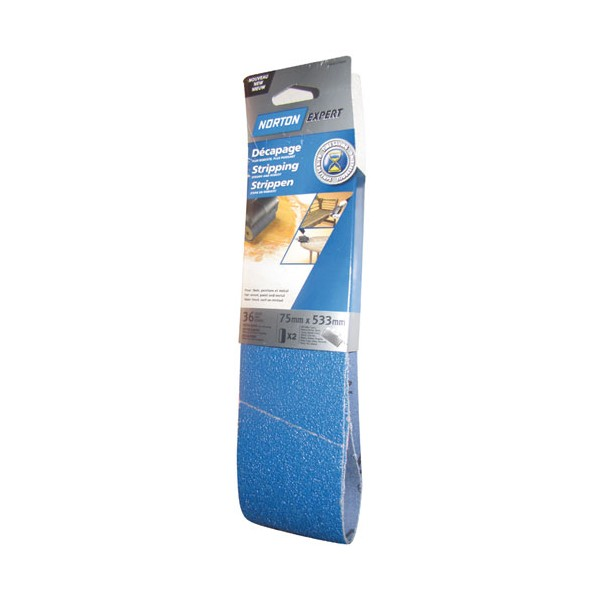 Bande abrasive - blue tech - lot de 2 - grain 36 - 75x533 mm - 63642570444 - NORTON