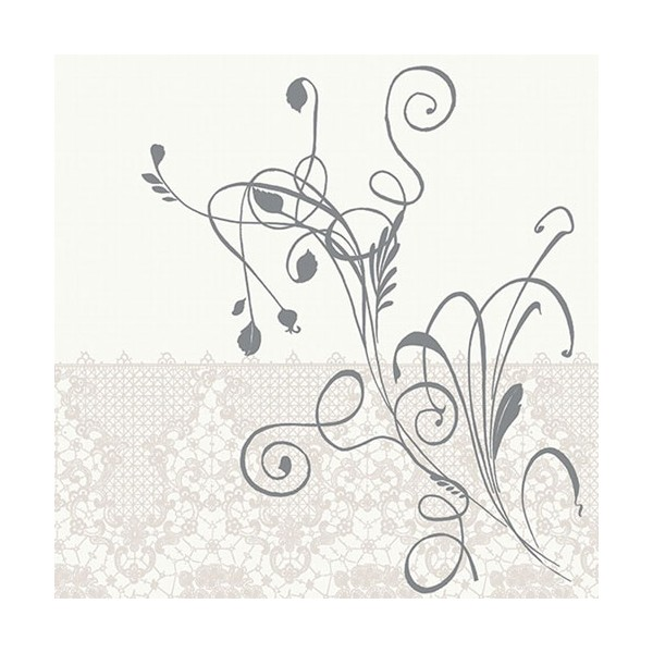 Serviette de table carrée Dunilin - décor Léa blanc - 40 x 40 cm - lot de 12 - 167421 - DUNI
