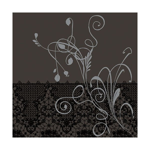 Serviette de table carrée Dunilin - décor Léa noir - 40 x 40 cm - lot de 12 - 167419 - DUNI