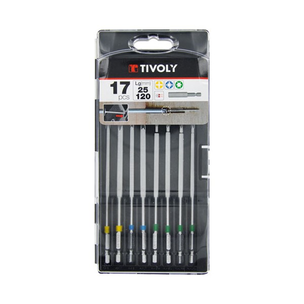 Coffret embouts de vissage extra longs - lot de 17 - 11501570038 - TIVOLY