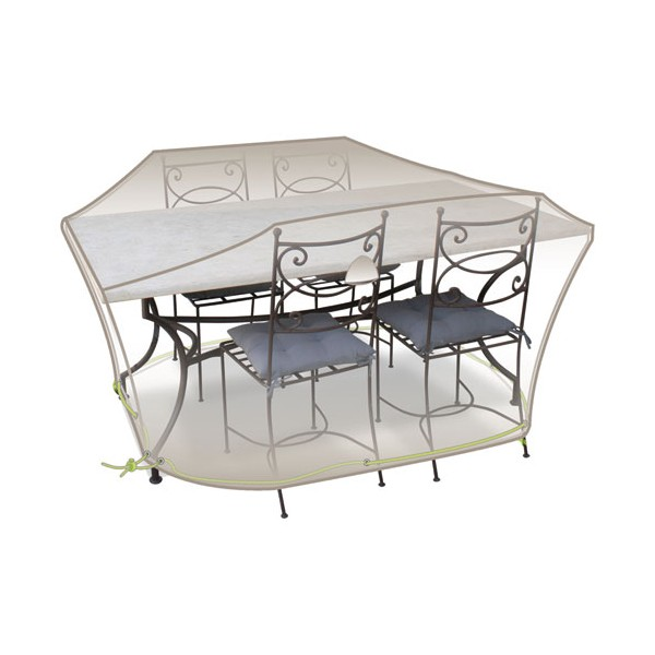 Housse table rectangle + chaises - 4 à 6 personnes - gris mastic - CLS01 - JARDILINE