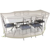 Housse table rectangle + chaises - 6 à 8 personnes - gris mastic