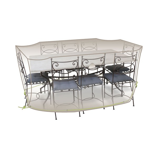 Housse table rectangle + chaises - 8 à 10 personnes - gris mastic - CLS03 - JARDILINE