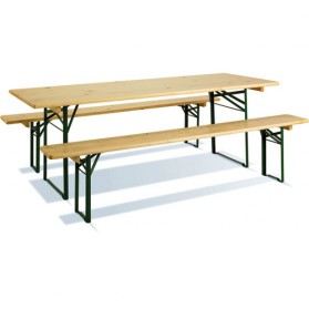 Table pliante bois + 2 bancs - 200 x 70 cm - coloris pin