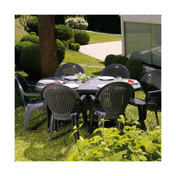 Table de jardin vega 165 220x100 cm anthracite for Table exterieur 10 personnes