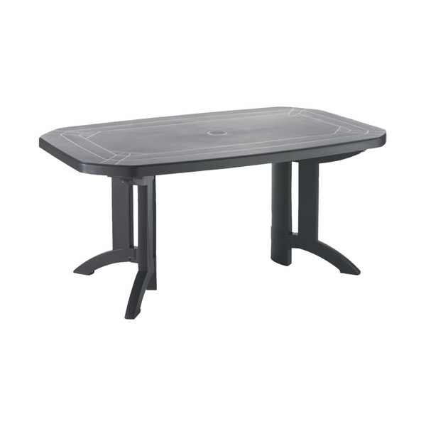 Table pliante vega - 8/10 personnes avec allonge - 220 x 100 cm - anthracite - 52056102 - GROSFILLEX