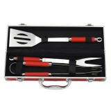 Mallette 3 ustensiles de barbecue inox - rouge