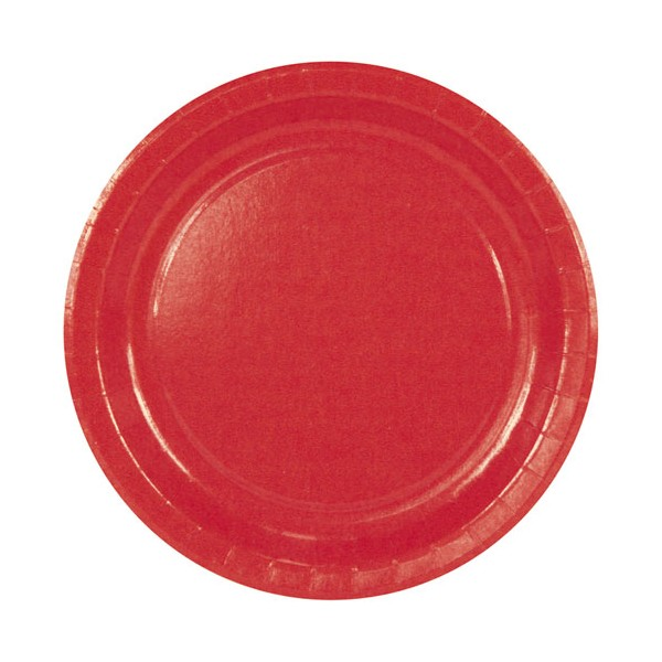 Assiette carton red - D : 23 cm - lot de 10 - 43309310 - HOSTI