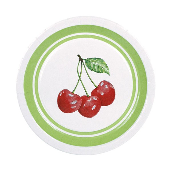 Assiette carton sweet cherry - D : 23 cm - lot de 10 - 43610010 - HOSTI