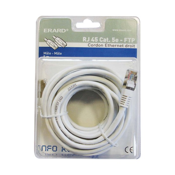 Cordon ethernet droit mâle RJ45 cat.5e / mâle FTP - 5 m - 2396 - ERARD CONNECT