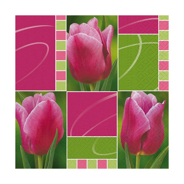 Serviette papier 33 x 33 cm - picnic tulips - lot de 20 - 45972010 - HOSTI