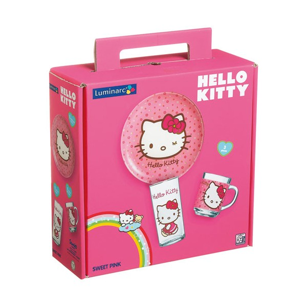 Set couverts enfants Sweet pink Hello Kitty - 3 pièces - 9205483 - LUMINARC