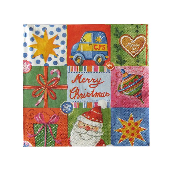 Serviette en papier Christmas gifts 33 x 33 cm - lot de 20 - 55840010 - HOSTI