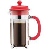 Cafetière Caffettiera 8 tasses 1 L - piston - rouge