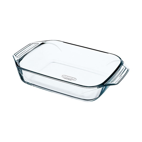 Plat rectangle + poignées L : 35 x 23 cm Optimum - verre - 408B000/6146 - PYREX