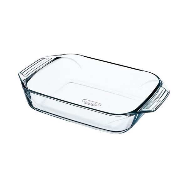 Plat rectangle + poignées L : 39 x 25 cm Optimum - verre - 409B000/6146 - PYREX