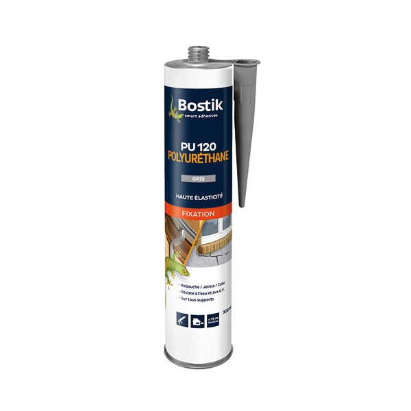 Colle mastic fixation pro PU 120 gris - cartouche 300 mL - 30605201 - BOSTIK
