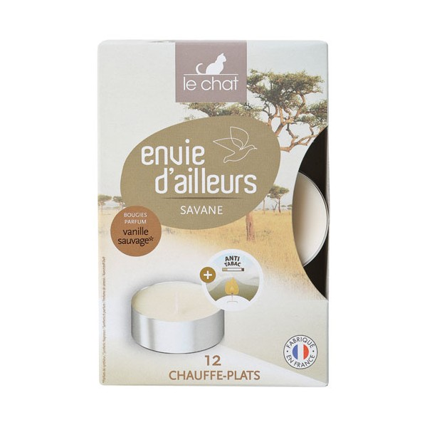 Bougie anti-tabac chauffe plat - vanille sauvage - lot de 12 - 1164610 - LE CHAT