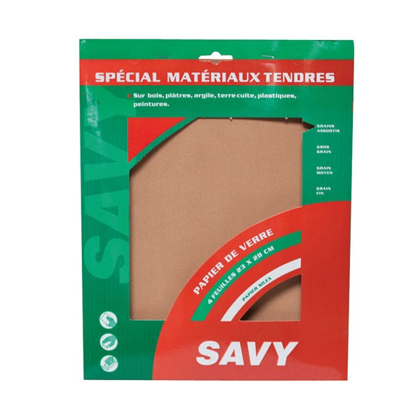 Papier verre - lot de 4 - assortiment - 2910000 - SAVY