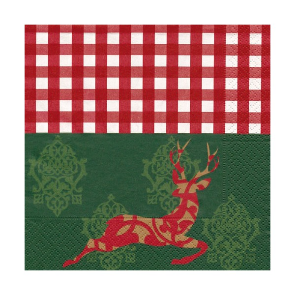 Serviette Cerf 33x33 cm 3 plis - lot de 20 - 55847010 - HOSTI