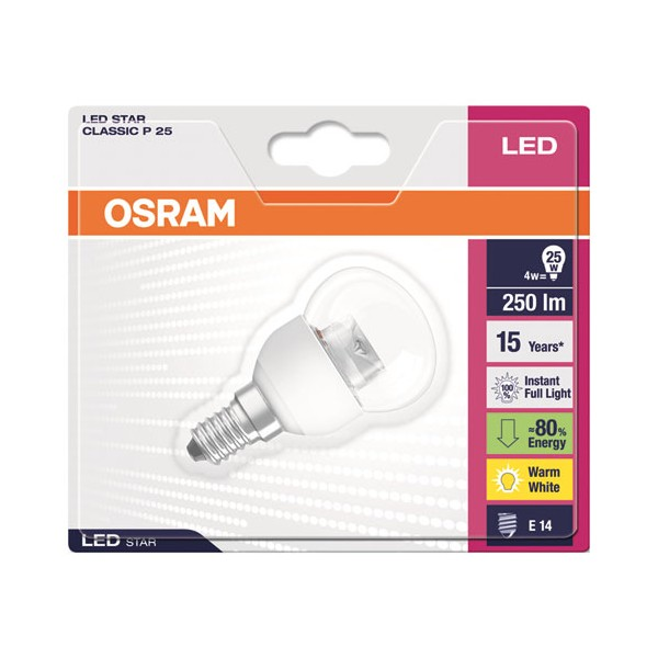 Led sphérique star diamant 4W E14 250 Lm - blanc chaud - 4,0529E+12 - OSRAM