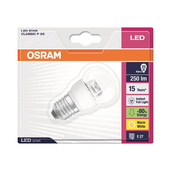 Led sphérique star diamant 4W E27 250 Lm - blanc chaud - 4,0529E+12 - OSRAM